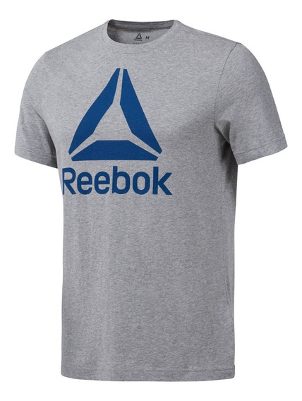 Reebok Remera M/c Hombre Qqr Stacked Gris/ Azul