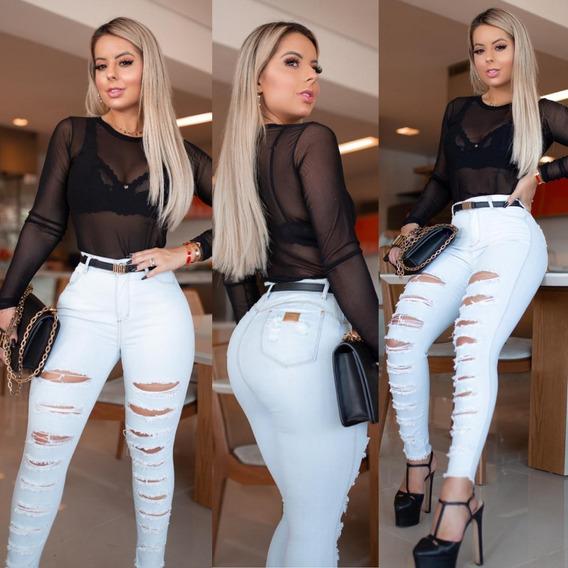 Calça Jeans Mega Destroyed Barra Desfiada Luxo #linda
