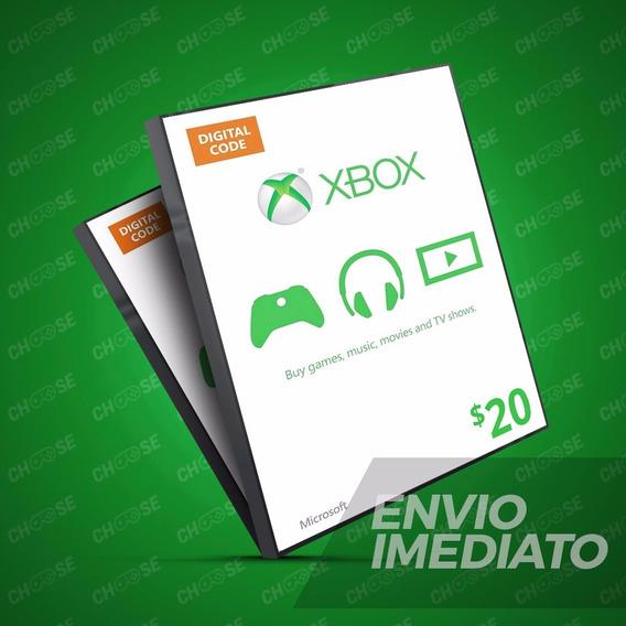 Microsoft Gift Card Cartão Xbox Live Americana $20 Dólares