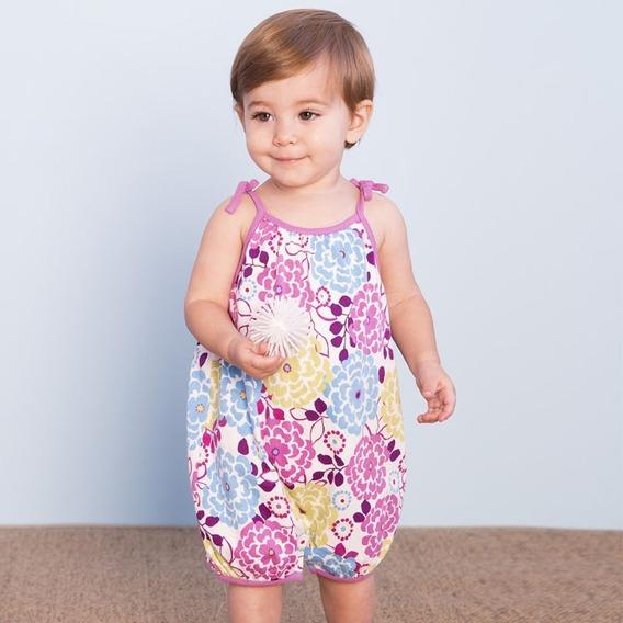 Jumper Bebé Niña Pañalero Flores Lila Rosa 6 Y 12 Meses