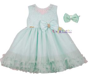 Vestido Tinker Bell Sininho Festa Infantil Luxo Com Tiara