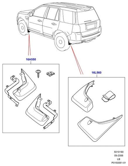 Jogo Palas Guardalamas Traseiras - Land Rover - Lr003322