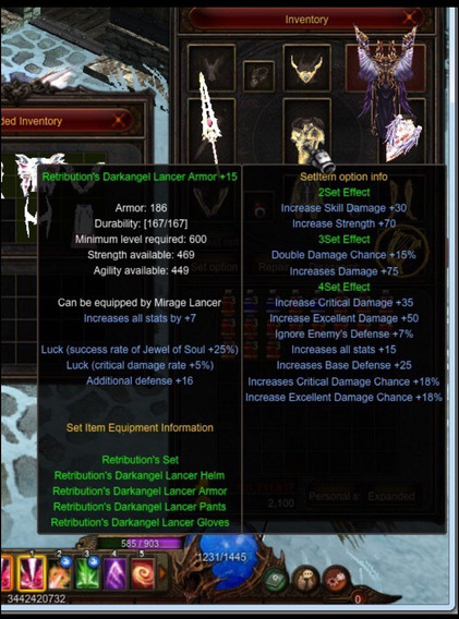 Set Para Grow Lancer Da Darkangel Max +15+16 +boots 2opt