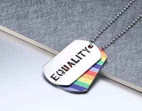 Corrente Cordão Dog Tag Equality Aço Inoxidável - Lgbt Gay