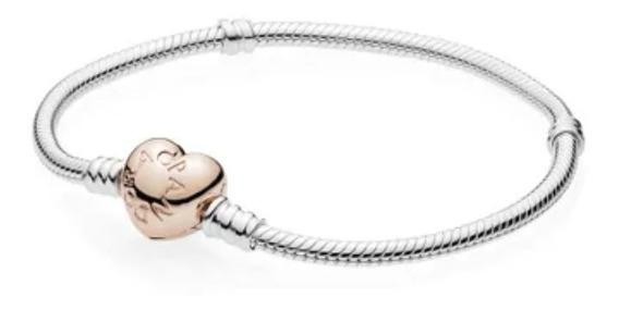 Pulseira Pandora Fecho Coração Rosé Em Prata 925 Tam18