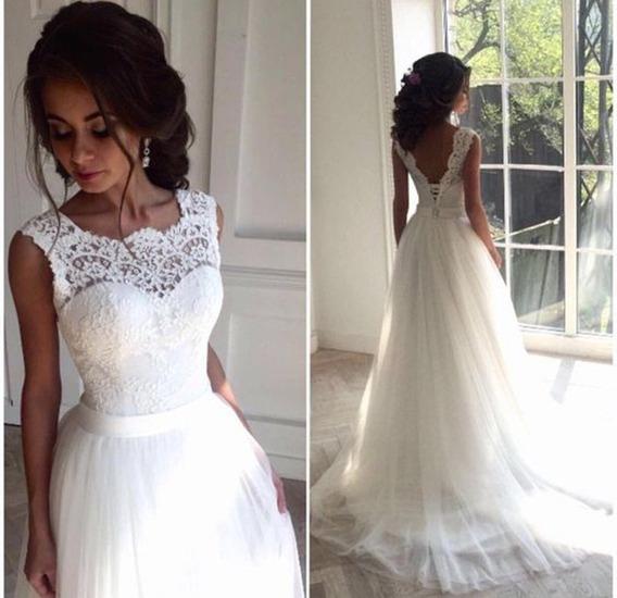 Vestido De Noiva Boho Chic Peito De Renda Com Decote V