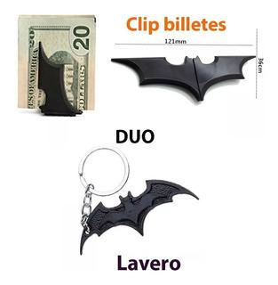 Set Llavero Batman Clip Acero Inoxidable 2 Pzas Full