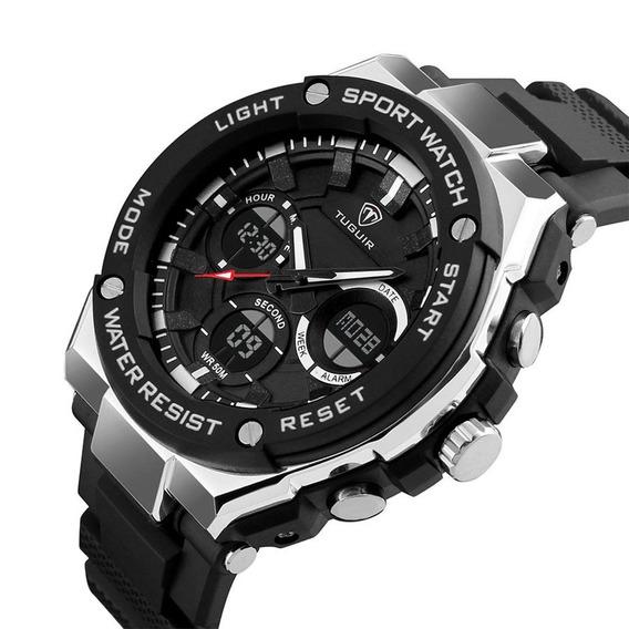 Relógio Masculino Tuguir 1187 Digital Esportivo Militar Analógico Anadigi Pulseria De Borracha Prova D