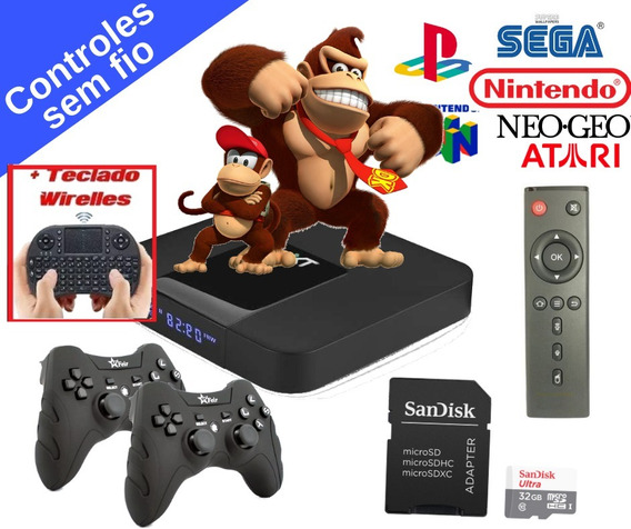 Video Game Retro C/ 2 Controles S/ Fio E Mini Teclado