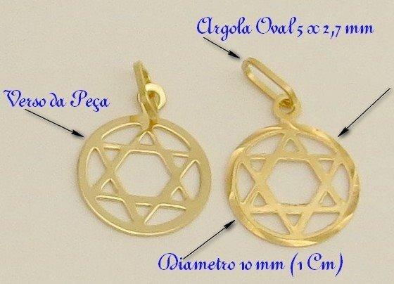 Linda! Medalha Pingente Estrela De Davi Ouro Amarelo 18k-750