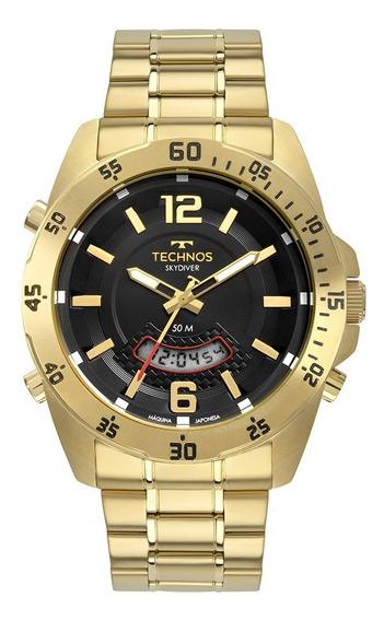 Relógio Technos Anadigi Skydiver Dourado T205jl/4p Temrelogi