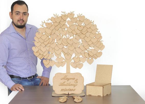 Grande Árbol De Firmas Con 200 Colgantes En Mdf Y Caja