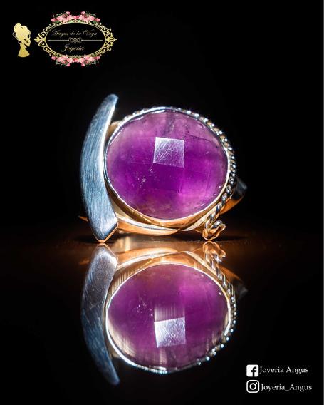 Anillo Con La Piedra Amatista Amuleto Protector Plata 925