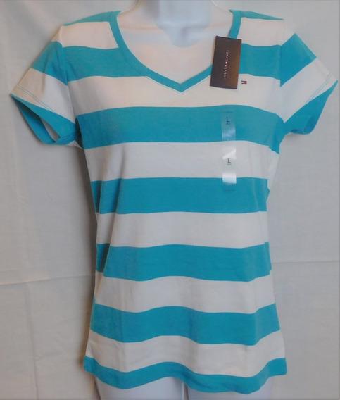 Tommy Hilfiger Camiseta Feminina Listrada Nova Original