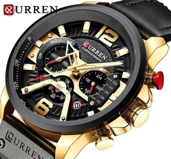 Relógio Curren 8329 Ponteiros Funcionais Couro Luxo Promoção