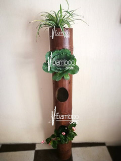 Macetera De Bambú Decorativa, Maceta Para Jardin O Interior