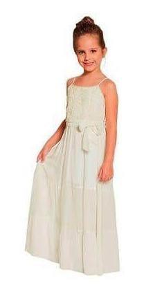 Vestido Longo Infantil Off White Viscose Com Renda Florida Ninali - Produto Com Uma Cor Off Yellow