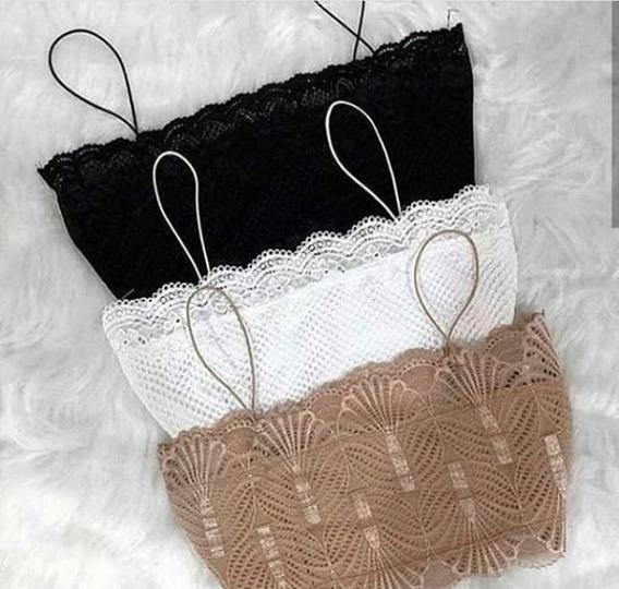 Cropped De Renda Alcinha Fina Moda Blogueira Luxo Bege