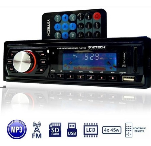 Imagem 1 de 4 de Radio Fm P/ Carro Mp3 Automotivo Usb Sd Aux Player Som