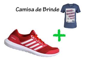 Tênis Masculino Esportivo Caminhada Mais Camisa De Brinde!