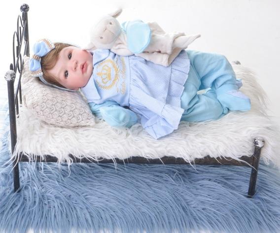 Bebe Reborn Menina Silicone Promoçao Boneca Poa Azul