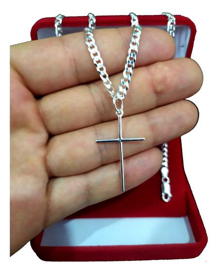 Corrente De Prata 925 Escama De Peixe Pingente Crucifixo Top