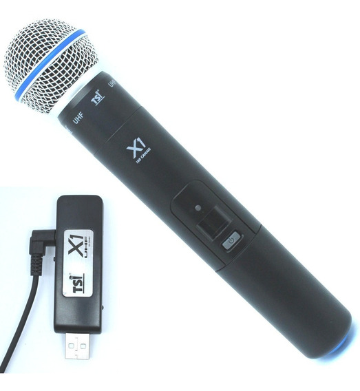 Microfone S/ Fio De Mão Digital Tsi X1 Uhf