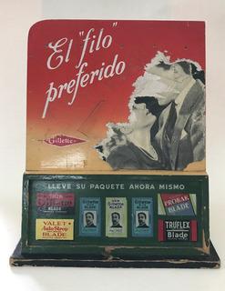 Antiguo Exhibidor De Hojitas De Afeitar Gillette 1940
