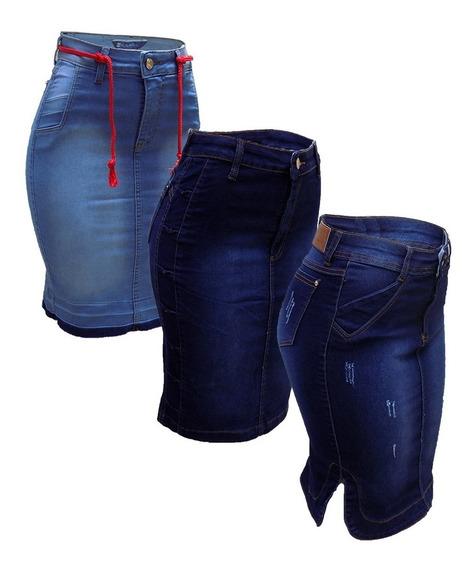 Saia Jeans Evangélica Midi Laço Sino Promoção Kit C/3