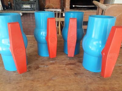 02 Registro De Esfera Irrigação, Pvc Azul , 100mm 4 Pol