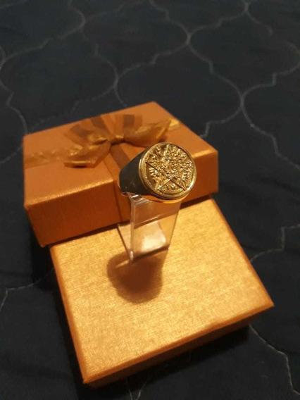 Anel Tetragrammaton, Prata 950, Banhado A Ouro + Pingente