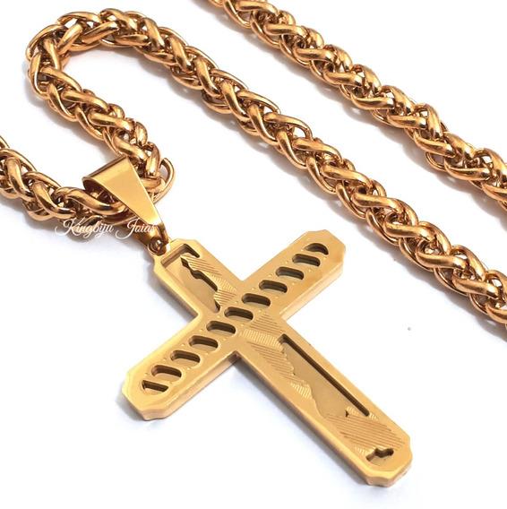 Crucifixo Grande E Cordão 70cm Ostentação Banhados Ouro 18k