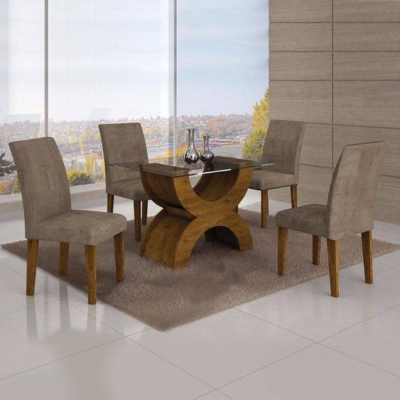 Conjunto Sala De Jantar Mesa Tampo Vidro 120cm E 4 Cadeiras