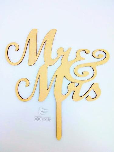Imagen 1 de 4 de Cartel - Topper Cake Mr & Mrs Personalizado Mdf/ Fibrofacil