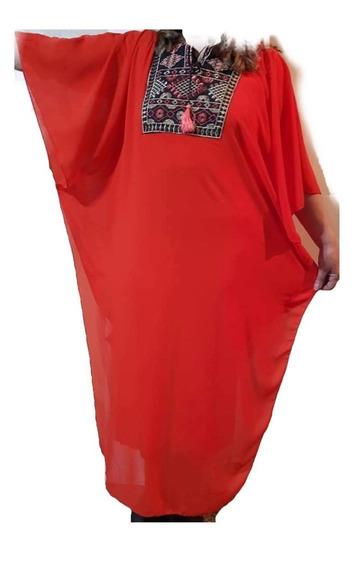 Tunica Larga De Gasa Con Vestido De Modal Interno