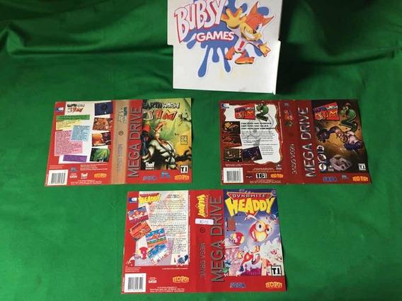 Encartes Mega Drive Tectoy(earthworm Jim,dynamite ) Original