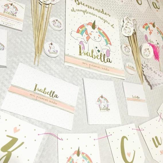 Unicornio Dorado Rosa Kit Impreso Cumple 12 Inv Partybox