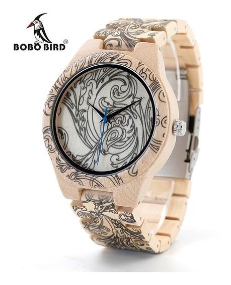 Relógio Unissex Bambu Analógico Bobo Bird O07 + Frete