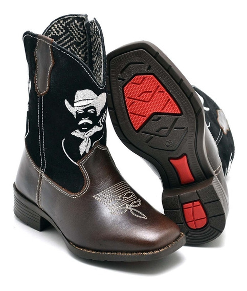Bota Country Infantil Kids Texana Masculina Couro Cowboy Ps