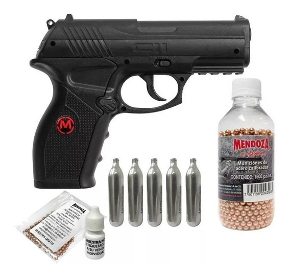 Kit Pistola Balines C11 4.5mm 5 Co2 1500 Municiones Crosman