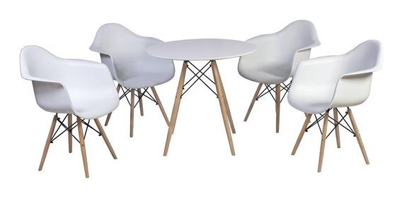 Conjunto Mesa Eiffel Branca 120cm + 4 Cadeiras Daw Com Braço
