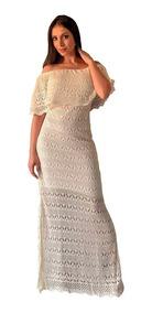 Vestido Longo De Malha Tricô Ombro A Ombro Rendado Com Fenda