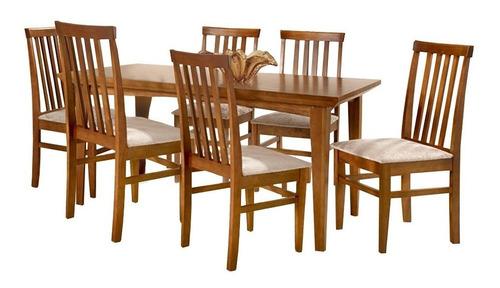Conjunto De Mesa Madeira Maciça Com 6 Cadeiras União - Mel