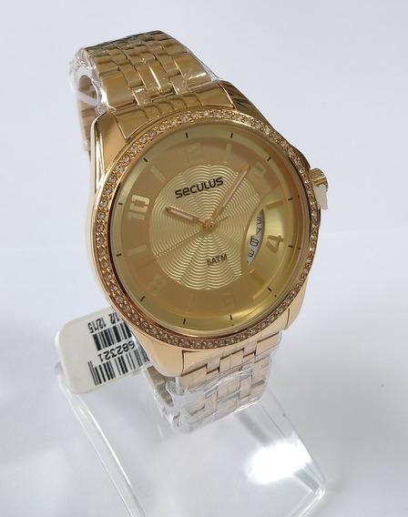 Relógio Dourado Feminino Original Séculus Ref-20426lpsvds1.