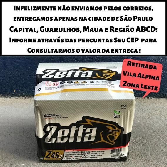 Bateria Carro Zetta 45ah Queima De Estoque