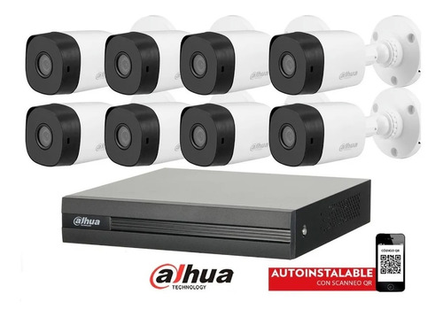 Imagen 1 de 10 de Kit Seguridad Dahua Full Hd Dvr 8 Camaras 1080p 2mp Exterior
