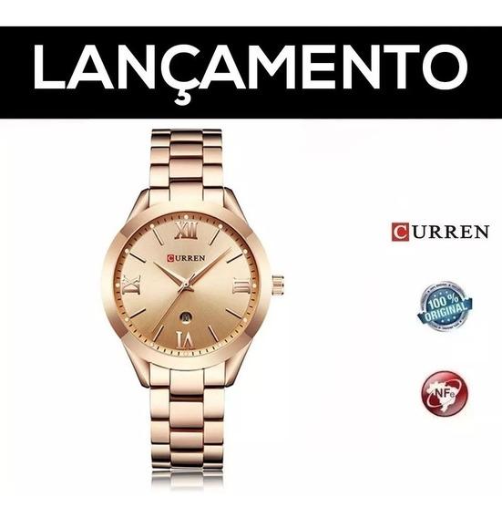 Relógio Curren Feminino Rose De Luxo Aço Inoxidável