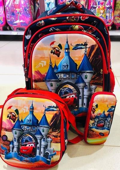 Kit Mochila 3d Carros Disney Lancheira, Estojo Rodinha Alça
