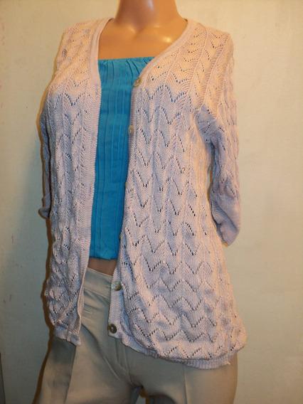 Sweater Saquito Calado Vintage Algodon Y Rayon T 1 Muy Bueno