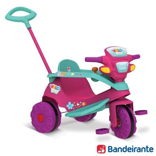 Triciclo Velobaby Gatinha Com Pedal Rosa - Bandeirante